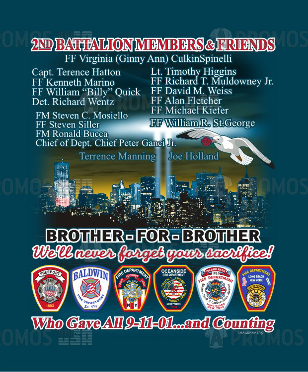 first responders fire department 9/11 fallen brothers ems ambulance fundraiser battalion patches custom printing embroidery tee shirt t-shirt tshirt tees cap caps logo