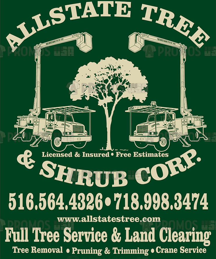landscaping landscaper lawn service tees t-shirt tshirt teeshirt caps logo screen printing and embroidery tree shrub logo