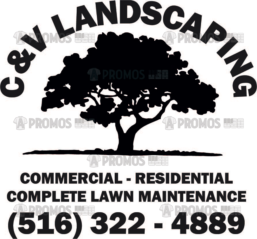 landscaping landscaper lawn service maintenance tees t-shirt tshirt teeshirt caps logo screen printing and embroidery tree logo